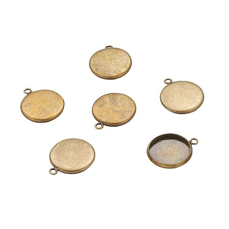 NBEADS 700 Pcs Brass Pendant Cabochon Settings, Setting for Cabochon, Flat Round, Antique Bronze, Tray: 14mm; 18x16x2mm, Hole: 1.5mm