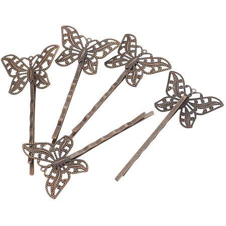 Arricraft 100PCS Antique Bronze Butterfly Hair Pin Findings, Brass Bobby Pins, Antique Hair Pins for DIY Headdress Hair Accessories