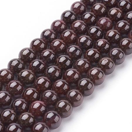 Arricraft Gemstone Beads Strands, Natural Garnet, Grade AB, Round, Dark Red, 6mm, Hole: 0.8~1mm; about 61pcs/strand, 15 inches