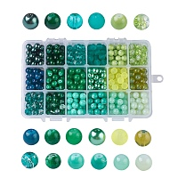 Baking Painted Glass Beads, Round, Gradient Color, Green, 8~9mm, Hole: 1~1.6mm, about 486~540pcs/box