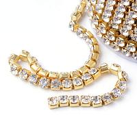 ARRICRAFT 1 Roll 10 Yard 2.8mm Crystal Rhinestone Close Chain Clear Trimming Claw Chain Gold Cup Bead Chain Craft and Decoration Chains for Jewelry, Veil, Vase, Cake, Sewing, Clothing