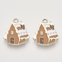 Arricraft Christmas Theme, Alloy Enamel Pendants, Light Gold, Snow House, Camel, 19.5x17x2mm, Hole: 2mm