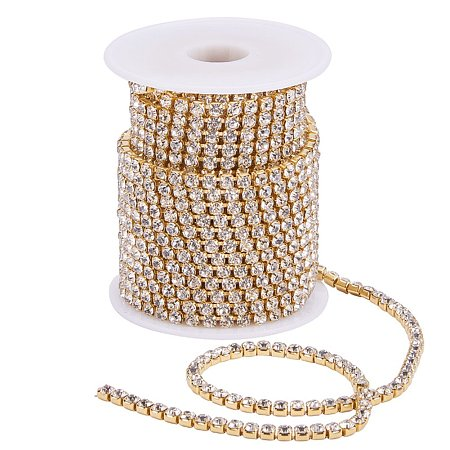 BENECREAT 10 Yard 4mm Crystal Rhinestone Close Chain Clear Trimming Claw Chain Sewing Craft About 1965pcs Rhinestones - Crystal (Gold Bottom)