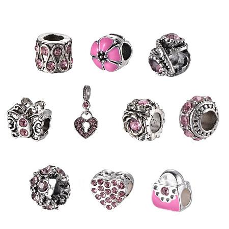 Mixed Shapes Alloy Glass Rhinestone European Beads, Light Rose, 10~26x9~12x1~10.5mm, Hole: 4.5~5mm; 10pcs/set