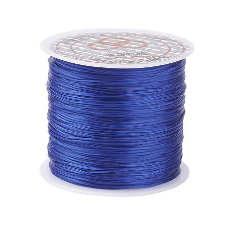 PandaHall Elite 1 Roll Blue 0.8mm Elastic Stretch Polyester Threads Beading String Cord 60m per Roll for Jewelry Making Bracelets Necklace