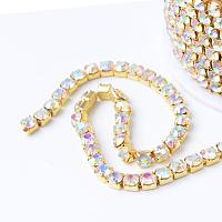 NBEADS 1 Roll 10 Yards 2.8mm Golden Crystal AB Color Rhinestone Close Chain Trimming Claw Chain Jewelry Crafts DIY