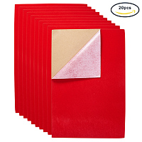 """BENECREAT 20PCS Velvet (Red) Fabric Sticky Back Adhesive Back Sheets, A4 sheet (8.27"""" x 11.69""""), Self-Adhesive, Durable and Water Resistant, Multi-purpose, Ideal for Art and Craft Making"""