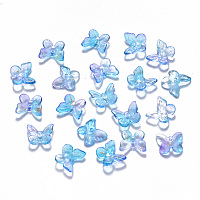 NBEADS Two Tone Transparent Spray Painted Glass Charms, with Glitter Powder, Butterfly, DodgerBlue, 9.5x11x3mm, Hole: 0.8mm