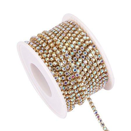 BENECREAT 10 Yard 2.6mm Crystal Rhinestone Close Chain Clear Trimming Claw Chain Sewing Craft About 2740pcs Rhinestones - Crystal AB (Gold Bottom)