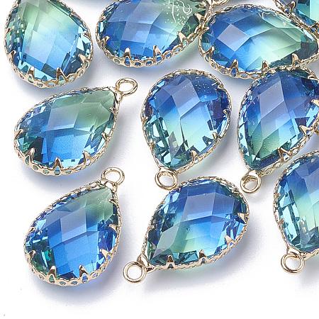 NBEADS K9 Glass Imitation Tourmaline Pendants, with Golden Tone Brass Findings, Faceted, Drop, DeepSkyBlue, 23x13.5~14x8mm, Hole: 2mm