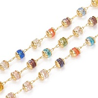 ARRICRAFT Handmade Glass Beaded Chains, with Brass Findings, Long-Lasting Plated, Rondelle, Faceted, Soldered, Golden, Colorful, 4mm, about 3.28 Feet(1m)/roll