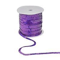 ARRICRAFT 6mm Wide 100yards AB-Color Flat Spangle Paulette Sequin Trim Spool String Beads for Dress Embellish Headband Costume, Purple