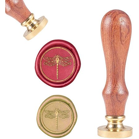 CRASPIRE Wax Seal Stamp, Wax Sealing Stamps Vintage Wax Seal Stamp Retro Wood Stamp Removable Brass Seal Wood Handle for Wedding Invitations Embellishment Bottle Decoration Gift Packing - Dragonfly