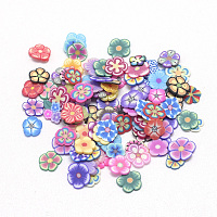 ARRICRAFT Handmade Polymer Clay Cabochons, No Hole, Flower, Mixed Color, 4~6x4~6x0.3~0.8mm