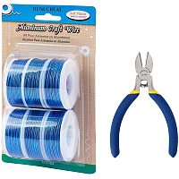 BENECREAT 6 Rolls 18 Gauge Aluminum Craft Wire with Side Cutting Plier, 450 Feet Jewelry Beading Wire Bendable Metal Wire for Jewelry Making Craft, DeepBlue