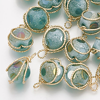 Nbeads Brass Glass Pendants, Frosted, Round, Real 18K Gold Plated, DarkCyan, 17~18x12x10mm, Hole: 1~2mm