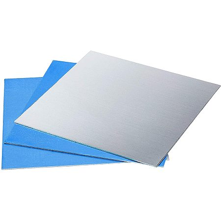 PandaHall Elite 6pcs Blank Aluminium Sheets Thin Aluminum Stamping Sheets Practice Panel Plate Metal Craft for Jewelry Making Hand Stamping Embossing Etching, 11.8 inch