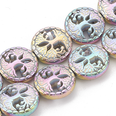 Electroplate Non-magnetic Synthetic Hematite Beads Strands, Flat Round with Tree of Life, Multi-color Plated, 12~12.5x4~4.5mm, Hole: 1mm; about 32pcs/strand, 16.14 inches