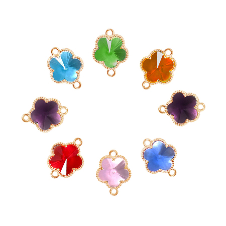 Glass Links connectors, with Environmental Alloy Open Back Berzel Findings, Flower, Light Gold, Mixed Color, 15.5x12x5mm, Hole: 1.4mm