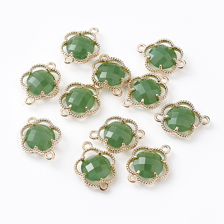 Glass Links connectors, with Environmental Alloy Open Back Berzel Findings, Faceted, Flower, Light Gold, Sea Green, 15.5x12x3mm, Hole: 1.4mm