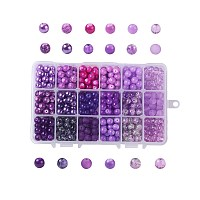 Baking Painted Glass Beads, Round, Gradient Color, Purple, 8~9mm, Hole: 1~1.6mm, about 486~540pcs/box