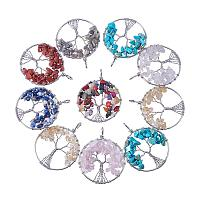 ARRICRAFT 10pcs Assorted colors Tree of Life Pendant Gemstone Chakra Crystal Stone Pendant For Necklace Earring Jewelry Making