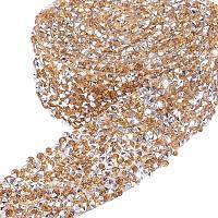 BENECREAT 2 Yard 3cm Width Crystal Rhinestone Ribbon Hot Fix Glitter Dress Diamond Ribbon Mesh Wrap Roll with 3mm Rhinestones for Trimming Cloth Bags Decoration, PeachPuff