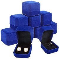 BENECREAT 10 Packs 1.9x2.1x1.6 RoyalBlue Velvet Ring Boxes Square Earring Jewelry Box for Proposal Engagement Wedding Ceremony and Gift Favor