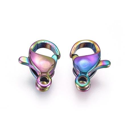 PandaHall Elite Vacuum Plating 304 Stainless Steel Lobster Claw Clasps, Rainbow, Multi-color, 9x6x3mm, Hole: 1mm