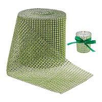 "BENECREAT 10 Yards Diamond Sparkling Rhinestone Mesh Ribbon Roll for Arts & Crafts, Event Decorations, Wedding Cake, Birthdays, 4.75"", 24 Row (Green)"