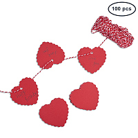 PandaHall Elite 100PCS Heart Shape Kraft Gift Tags Blank Paper Hang Tags Price Tags with 65 Feet String for Wedding Christmas Day Thanksgiving DIY Craft(60x60mm)