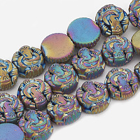Electroplate Non-magnetic Synthetic Hematite Beads Strands, Matte Style, Hindu Elephant God Lord Ganesh Statue, Multi-color Plated, 11x12x5mm, Hole: 2mm; about 38pcs/strand, 16.1 inches