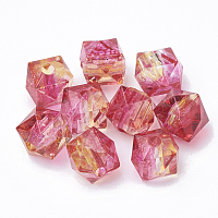 Nbeads Two Tone Transparent Spray Painted Acrylic Bead, Polygon, DeepPink, 7.5x8x8mm, Hole: 1.8mm