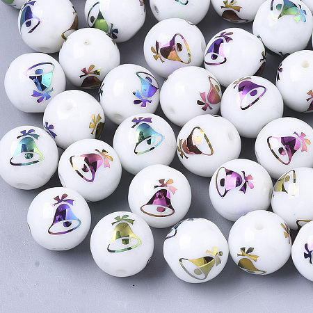 ARRICRAFT Christmas Opaque Glass Beads, Round with Electroplate Christmas Bell Pattern, Multi-color Plated, 10mm, Hole: 1.2mm