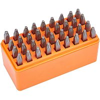 BENECREAT 36PCS 4mm Letter and Number Steel Metal Stamp Capital Letter and Number Punch Set(A~Z, &, 0-8) with Tool Case for Jewelry Leather Wood Stamping
