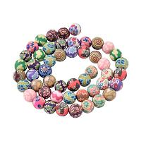 NBEADS 10 Strands of 8mm Handmade Polymer Clay Beads Colorful Round Loose Spacer Beads for Jewellery Making