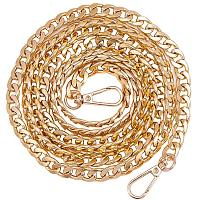 PandaHall Elite 1 Strand 62 Inch Aluminum Bag Flat Chain Strap with Alloy Swivel Clasps Handbag Chain Straps Metal Bag Strap Replacement Purse Clutches Handles, Golden