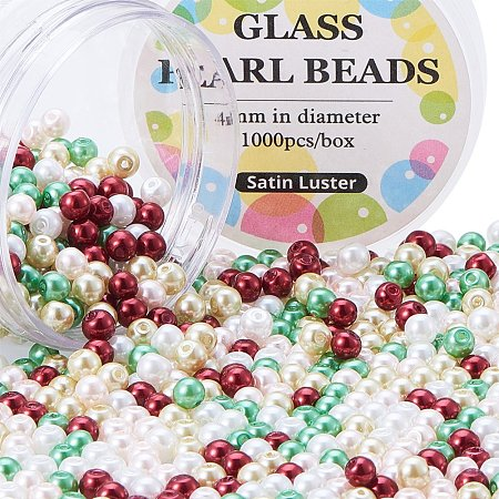 ARRICRAFT 1 Box(about 1000pcs) 4~4.5mm Mixed Color Pearlized Glass Pearl Beads Hole: 0.7~1mm- Christmas Mix