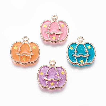 Arricraft Alloy Enamel Pendants for Halloween, Pumpkin, Light Gold, Mixed Color, 20x18.7x2.5mm, Hole: 1.6mm (random mix)