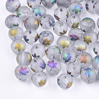 Electroplate Transparent Glass Beads, Frosted, Round with Maple Leaf Pattern, Colorful, 8~8.5mm, Hole: 1.5mm