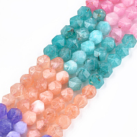 """NBEADS Natural White Jade Beads Strands, Dyed, Faceted, Round, Mixed Color, 8x8x8mm, Hole: 1mm; about 47~50pcs/strand, 14.5""""~15.7"""""""