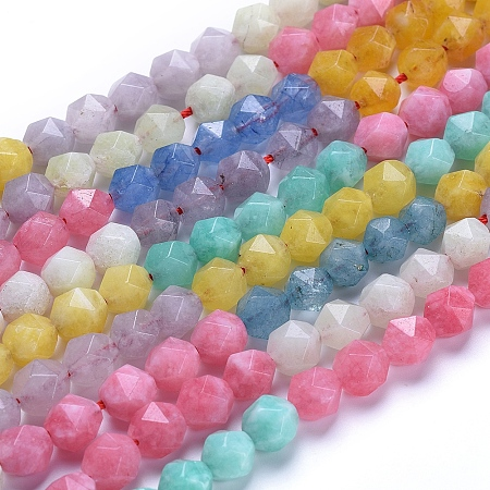 ARRICRAFT Natural White Jade Beads Strands, Dyed, Faceted, Round, Star Cut Round Beads, Mixed Color, 8mm, Hole: 1mm; about 47~50pcs/strand, 14.5 inches~15.7 inches