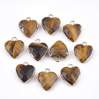 Electroplate Natural Tiger Eye Pendants, with Iron Findings, Faceted, Heart, Golden, 16~17x14~15x6~7mm, Hole: 1.8mm