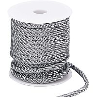 PandaHall Elite 59 Feet 5mm Twisted Cord Rope, 3-Ply Decorative Rope Polyester Twine Cord Rope String for Home Decor, Crafts Making and Costume Crafting (Dark Gray)