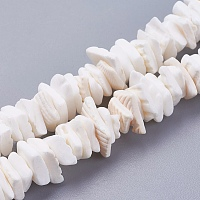 ARRICRAFT Natural Sea Shell Beads Strands, Dyed, Square Chip, White, 1~3.5x4.5~10x4.5~10mm, Hole: 0.5mm, 16.1 inches~16.9 inches