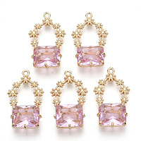 Nbeads Golden Tone Brass Pendants, with Faceted Glass, PearlPink, 28~30x16~18x6.5mm, Hole: 1.6mm
