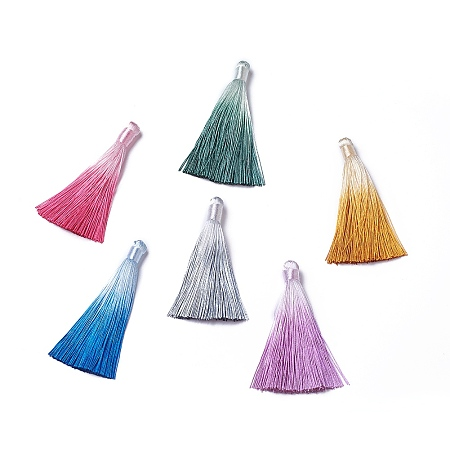 NBEADS Polyester Tassel Big Pendant Decorations, Mixed Color, 80~85x8~20mm