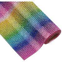 """BENECREAT 9.5"""" x 15.5"""" Rainbow Color Round Crystal Epoxy Rhinestone Sheet Hotfix Rhinestone Sheet Banding Bridal Rhinestone for Dresses Shoes Crafts"""