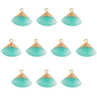 NBEADS 10 Pcs Electroplate Natural Jade Pendants, Dyed Triangle Faceted Jade Stone Pendants with Golden Brass Findings for DIY Earring Necklace Jewelry Making, Aquamarine
