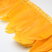 Fashion Goose Feather Cloth Strand Costume Accessories, Orange, 100~180x38~62mm; about 2m/bag